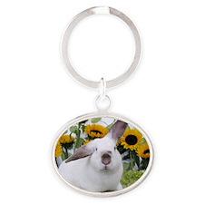 Presto with Sunflowers-1 Oval Keychain