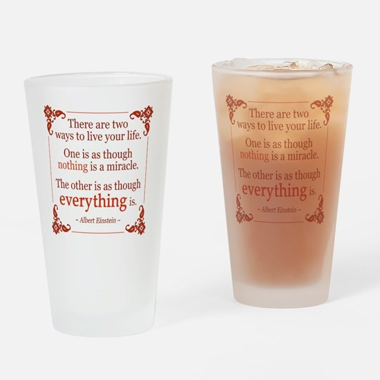 Einstein on Miracles Drinking Glass