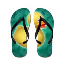 Rubber Duck on Green Bubbles Flip Flops