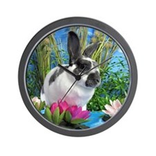 Buttercup Bunny on Lily Pads-1 Wall Clock