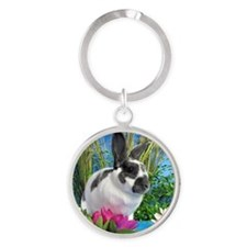 Buttercup Bunny on Lily Pads-1 Round Keychain
