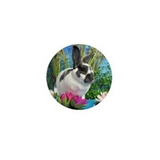 Buttercup Bunny on Lily Pads-1 Mini Button