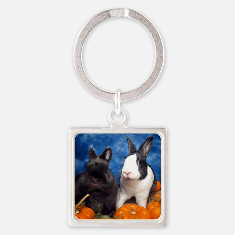 Tiny Tim and Dixie in Pumpkin Patc Square Keychain