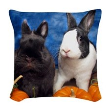 Tiny Tim and Dixie in Pumpkin  Woven Throw Pillow