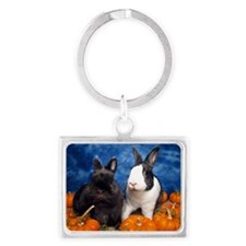 Tiny Tim and Dixie in Pumpkin P Landscape Keychain