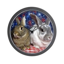Scarlett and Emmer on 4th of July picni Wall Clock