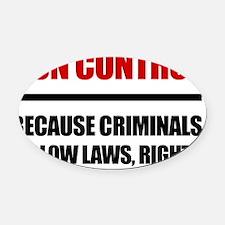 Gun Control Oval Car Magnet