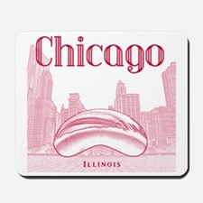 Chicago_10x10_ChicagoBeanSkylineV1_Red Mousepad