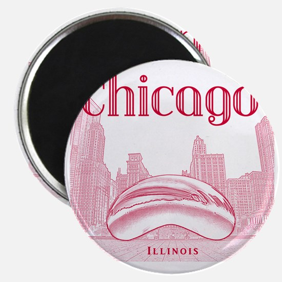 Chicago_10x10_ChicagoBeanSkylineV1_Red Magnet