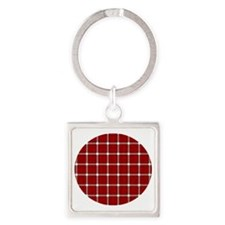 red, Square Keychain