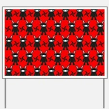 Red and Black Ninja Bunny Pattern Yard Sign