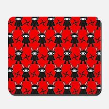 Red and Black Ninja Bunny Pattern Mousepad