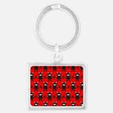 Red and Black Ninja Bunny Patte Landscape Keychain