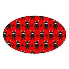 Red and Black Ninja Bunny Pattern Decal