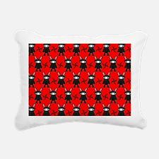Red and Black Ninja Bunn Rectangular Canvas Pillow
