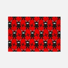 Red and Black Ninja Bunny Pattern Rectangle Magnet