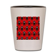 Red and Black Ninja Bunny Pattern Shot Glass