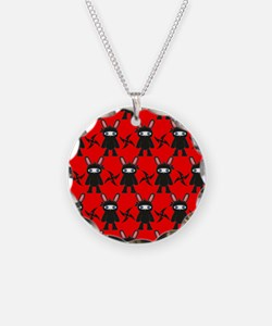 Red and Black Ninja Bunny Pa Necklace