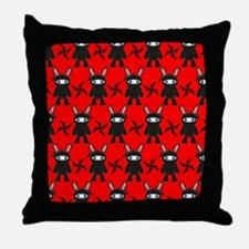 Red and Black Ninja Bunny Pattern Throw Pillow