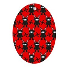 Red and Black Ninja Bunny Pattern Oval Ornament
