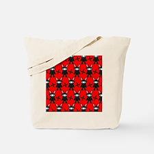Red and Black Ninja Bunny Pattern Tote Bag