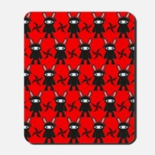 Red and Black Ninja Bunny Pattern Mousepad