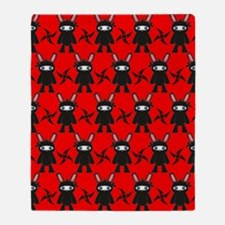 Red and Black Ninja Bunny Pattern Throw Blanket