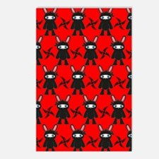 Red and Black Ninja Bunny Postcards (Package of 8)