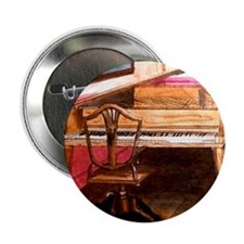 """Federal Style Piano and chair 2.25"""" Button"""