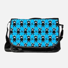 Turquoise and Black Ninja Bunny Patt Messenger Bag