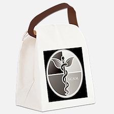 SCNM Medicine Wheel BW Logo Canvas Lunch Bag