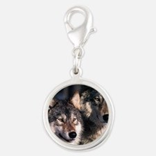 two wolf Silver Round Charm