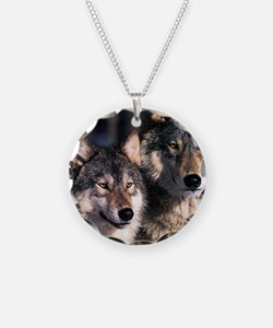 two wolf Necklace