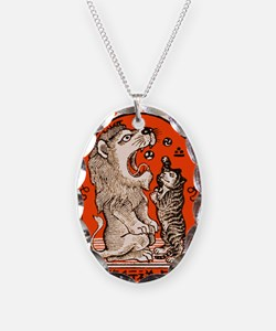 1910 Japanese Lion and Cat Mat Necklace Oval Charm