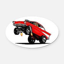 57 Gasser Wheelie Oval Car Magnet