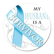My Husband is a Survivor Round Car Magnet