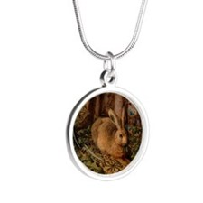 Rabbit In The Woods Silver Round Necklace