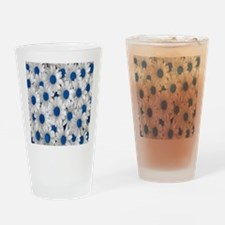 English Daisies Blue Drinking Glass