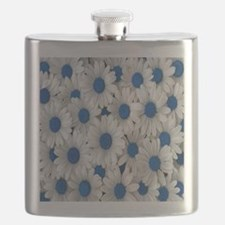 English Daisies Blue Flask