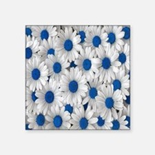 "English Daisies Blue Square Sticker 3"" x 3"""