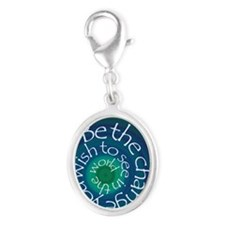 Be The Change Silver Oval Charm