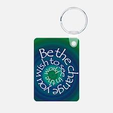 Be The Change Aluminum Photo Keychain
