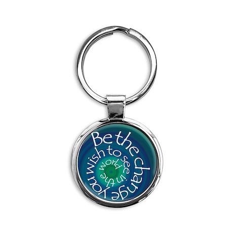Be The Change Round Keychain