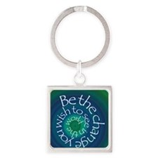 Be The Change Square Keychain