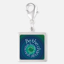 Be the Change Silver Square Charm