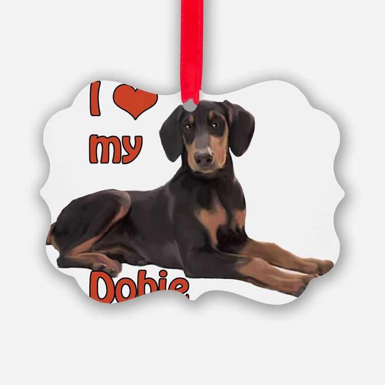 I heart my Doberman Ornament