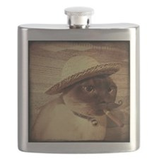 Mexican Peasant, sepia, cigar, mustache Flask