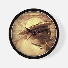 Mexican Peasant, sepia, cigar, mustache Wall Clock