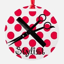 stylist SQUARE RED PENDANT Round Ornament