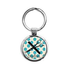 Stylist Square BLUE PENDANT Round Keychain